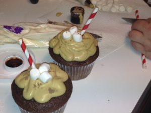 hot cocoa marshmallow cupcakes counter