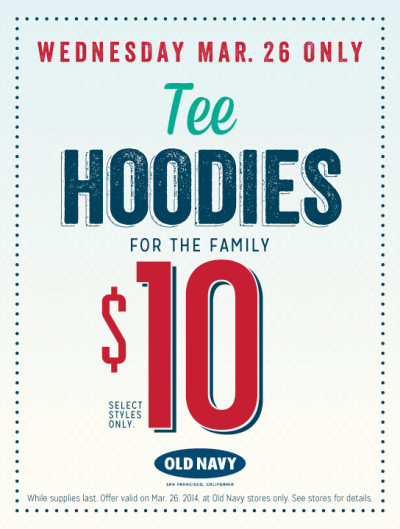 Post image for Old Navy: Tee Hoodies For The Whole Family $10 Today