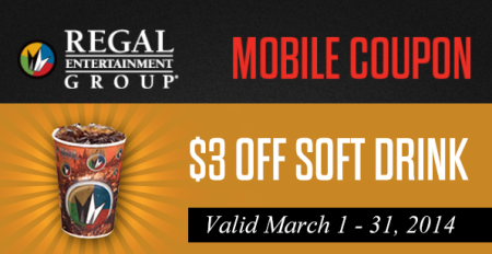 Post image for Regal Cinemas: $3 Off Soft Drink Mobile Coupon