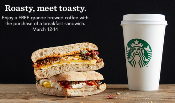 Post image for Starbucks: FREE Grande Hot Brewed Coffee w/ Breakfast Sandwich Purchase (3/12-3/14)