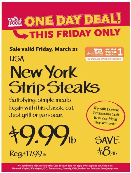 Post image for Whole Foods: New York Strip Steaks $9.99
