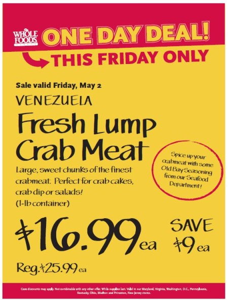 Post image for Whole Foods Mid-Atlantic Region: Fresh Lump Crab Meat $16.99 lb