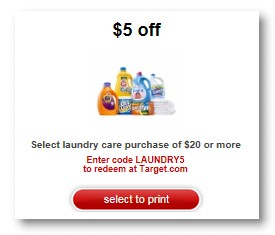 Post image for Target: $5 off of $20 Laundry Care Purchase