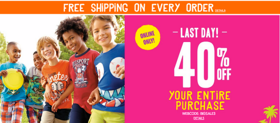 Post image for The Children's Place: 40% Off Sitewide Plus Free Shipping