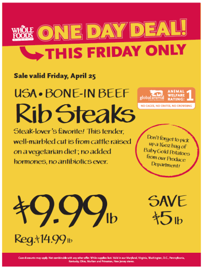 Post image for Whole Foods Mid-Atlantic Region: Bone-In Beef Rib Steaks $9.99 lb