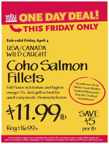 Post image for Whole Foods Mid-Atlantic Sale: Coho Salmon Fillets $11.99 lb