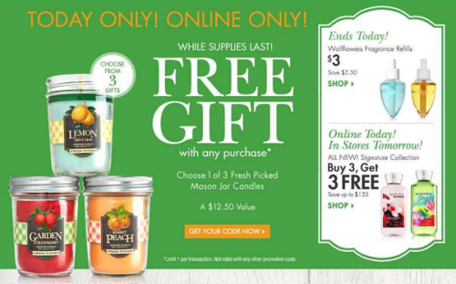 Post image for Bath & Body Works: Free Mason Jar Candle + $1 Shipping with Any $25+ Purchase