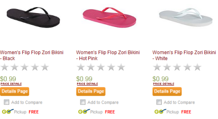 Post image for KMart: Flip Flops $.99 With Free Shipping To Store