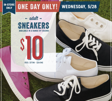 Post image for Old Navy: $10 Adult Sneakers (5/28 Only)