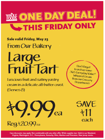 Post image for Whole Foods Mid-Atlantic Region: Large Fruit Tart Sale $9.99