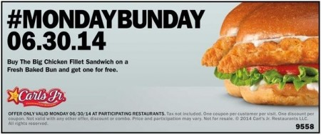 Post image for Hardee's: Buy One Get One Free Chicken Sandwiches June 30th