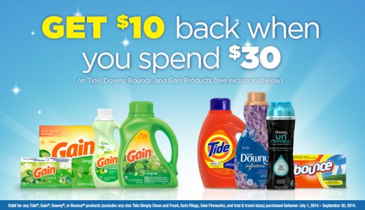 Post image for $10 Rebate When You Spend $30 on Tide, Downy, Bounce & Gain!