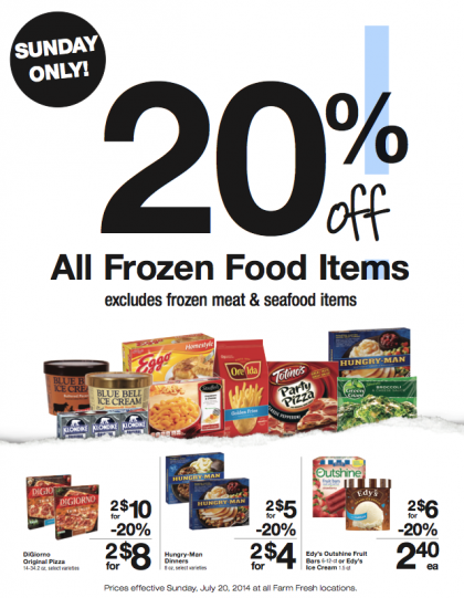 Post image for Farm Fresh Supermarkets: 20% Off All Frozen Food Sunday 7/20