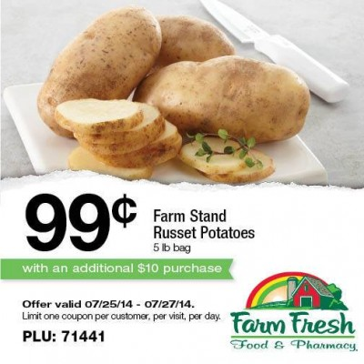 Post image for Farm Fresh Supermarkets: 5 lb Bag of Potatoes $.99