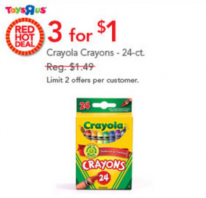 Post image for Today Only Toys R Us: Crayola Crayons for $0.33