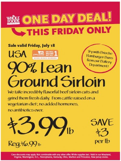 Post image for Whole Foods Mid-Atlantic Deal: 90% Lean Ground Beef $3.99 lb