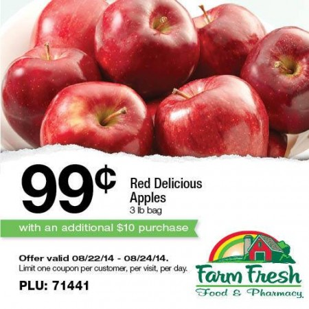 Post image for Farm Fresh Supermarkets: Apples for $.99 With $10 Purchase