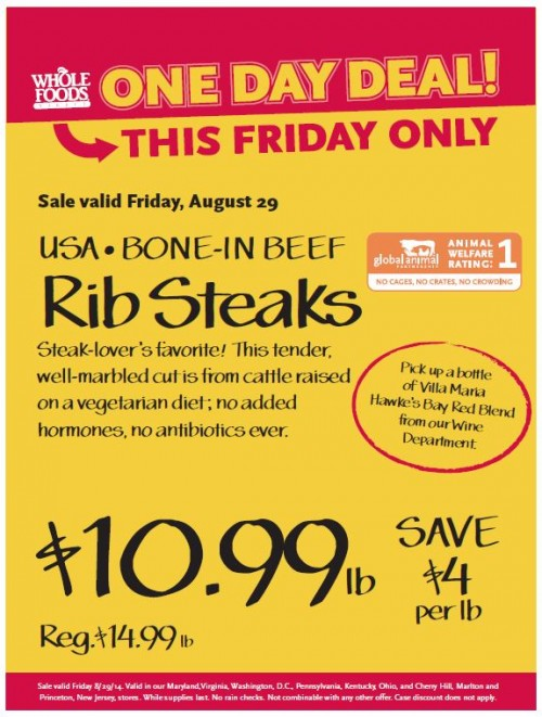 Post image for Whole Foods Mid-Atlantic Region: Bone In Beef Rib Steaks $10.99 lb