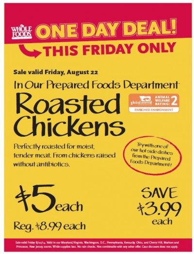 Post image for Whole Foods Mid-Atlantic Friday Deal: Whole Cooked Roasted Chicken $5