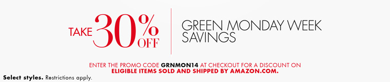 30 percent off green monday items