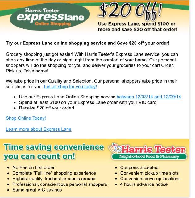harris teeter 20 off of 100 when you try express lane shopping - Harris Teeter Christmas Hours