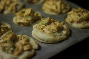 Buffalo Chicken Open Faced Mini Pies