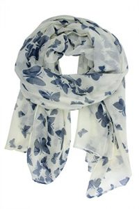 white blue butterfly scarf