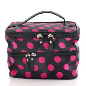 black and pink polka dot bag