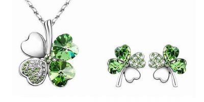 four leaf clover earrings and necklace