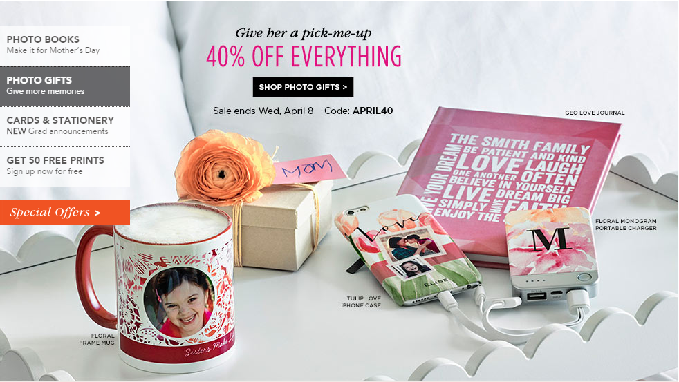 shutterfly forty percent off