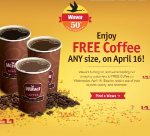 wawa free coffee april 16th