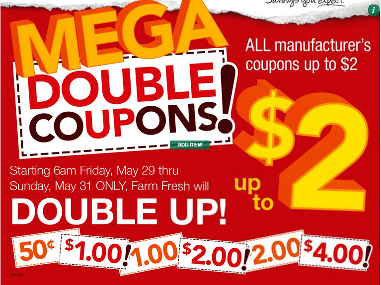 Farm Fresh Supermarkets: Mega Double Coupons May 2015