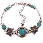 Tibetan Silver Turquoise Inlay Butterfly Bead Bangle Bracelet