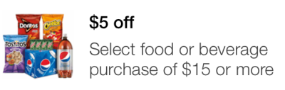 Target Mobile Coupon $5 off $15 Food or Beverage Purchase