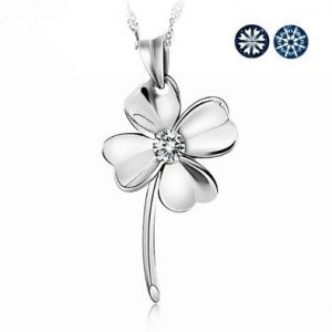 Fashion Large Four Leaf Clover of Faith & Hope & Love & Luck Swiss Crystal Sterling Silver Pendant Necklace