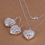 Hot Sale Wedding Fashion 925 Silver Plated Jewelry Set Earings Eardrop Necklace Three-Diamensional Heart