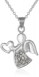 Silver Plated Holiday Angel Pendant Necklace