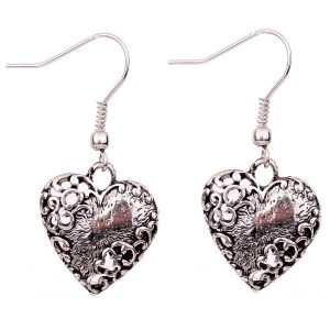 Yazilind Grace heart shape dangle unique distorted pattern Ear Wire Hook Dangle Earrings