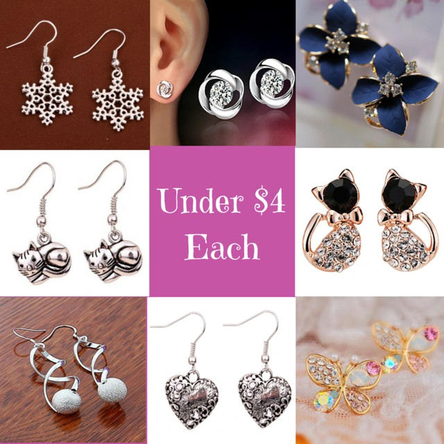 amazon earrings under four dollars