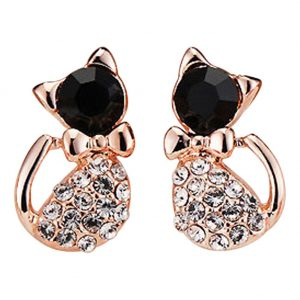 cat bling earrings