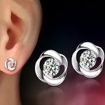 crystal shiny ear stud earrings