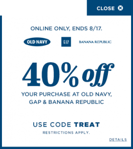 picture about Old Navy Printable Coupon identified as Aged Armed forces Coupon Code: Further 40% off Again In direction of Higher education Apparel