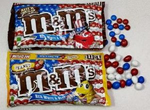 red white and blue m and ms