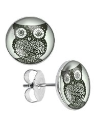 Black Deco Owl Unisex Mens Womens Stainless Steel Stud Earrings