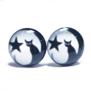 LilMents Cat Moon Star Unisex Mens Womens Stainless Steel Stud Earrings