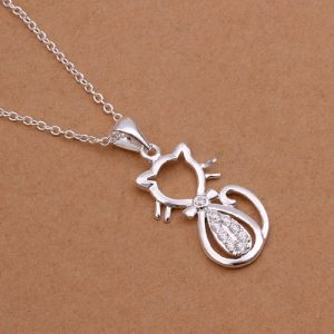 cute silver cat necklace
