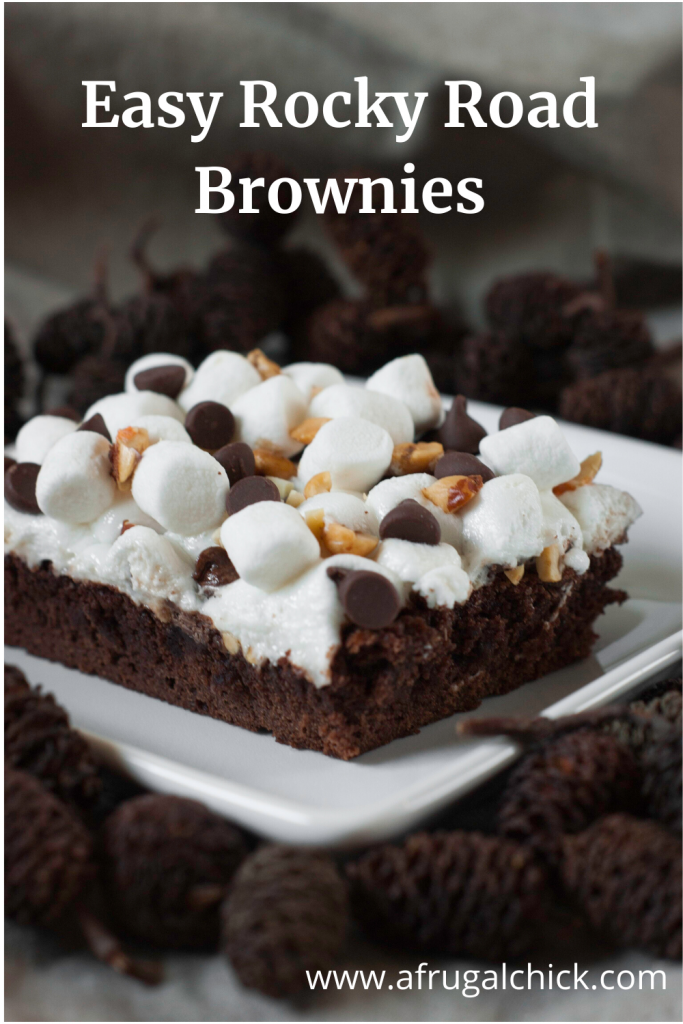 Easy Rocky Road Brownies- Remember rocky road ice cream? Get that same delicious chocolate, marshmallow and peanut taste all on a rich, fudgy brownie.