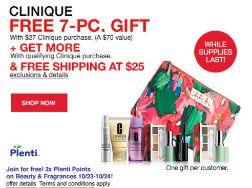 Macys.com: FREE Clinique 7 Piece Gift Set With Purchase Plus FREE Shipping