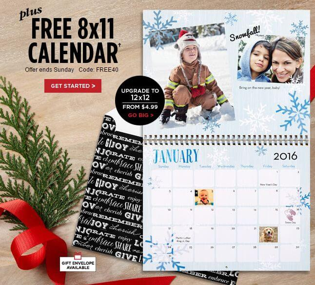 free shutterfly photo calendar for holiday gifts