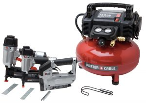 air compressor with nail gun